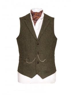 Pearse Tweed  Heringbone Wool Waistcoat