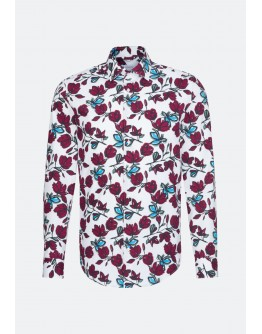 Hemd mit roten Blumenranken regular