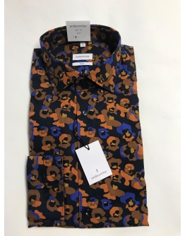 Hemd mit orangen und blauen Blumen